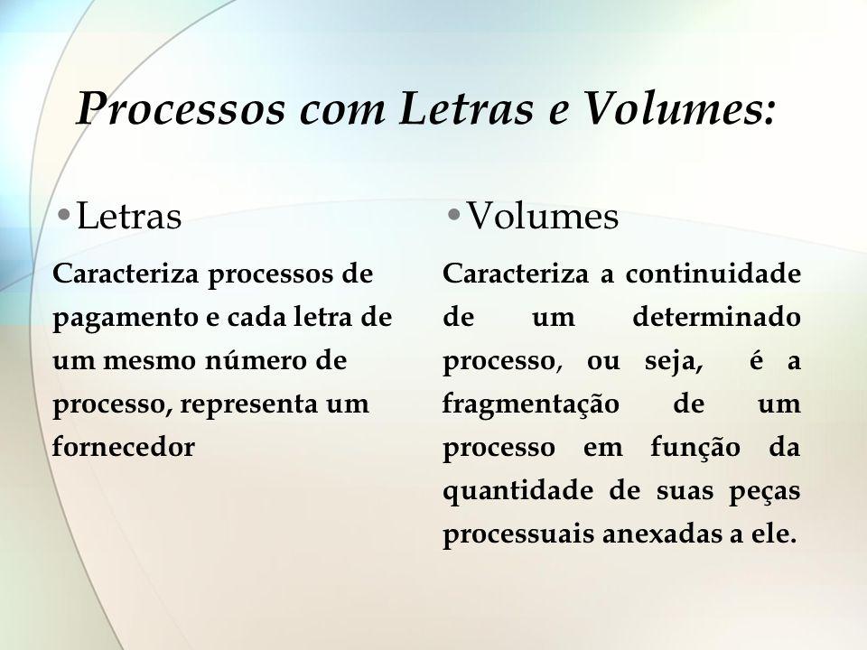 Processos com Letras e Volumes: Letras Caracteriza processos de pagamento e cada letra de um mesmo número de processo, representa um fornecedor Volume