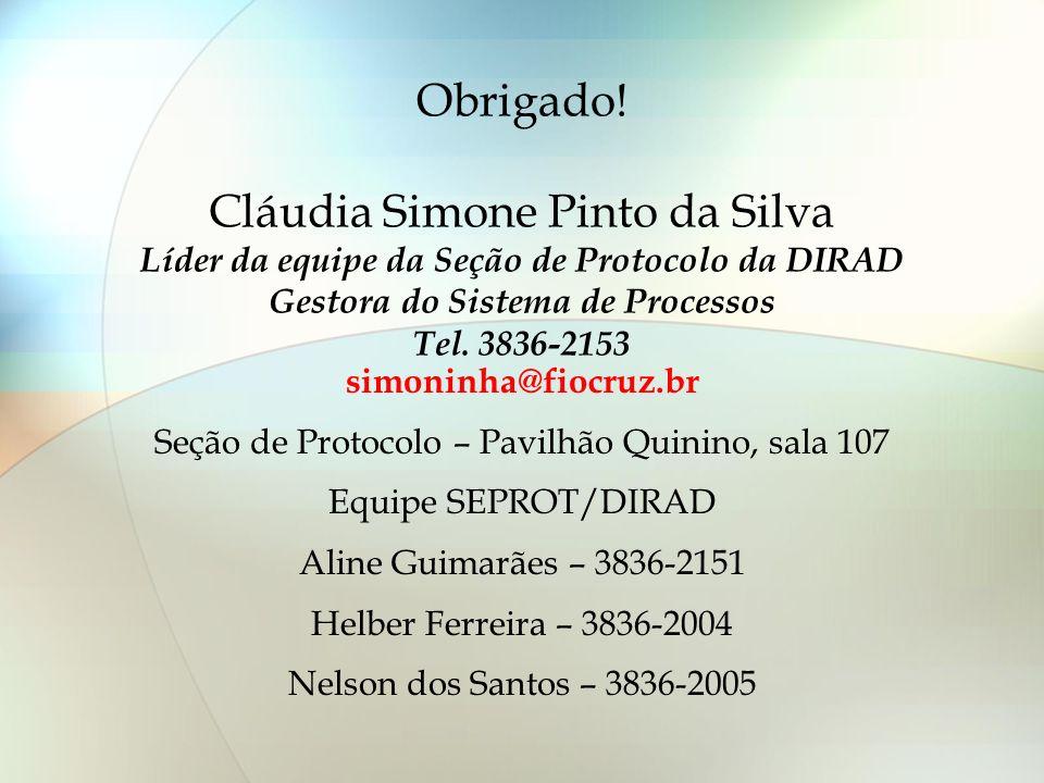 Obrigado! Cláudia Simone Pinto da Silva Líder da equipe da Seção de Protocolo da DIRAD Gestora do Sistema de Processos Tel. 3836-2153 simoninha@fiocru