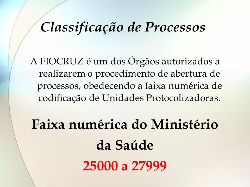 Classificação de Processos A FIOCRUZ é um dos Órgãos autorizados a realizarem o procedimento de abertura de processos, obedecendo a faixa numérica de
