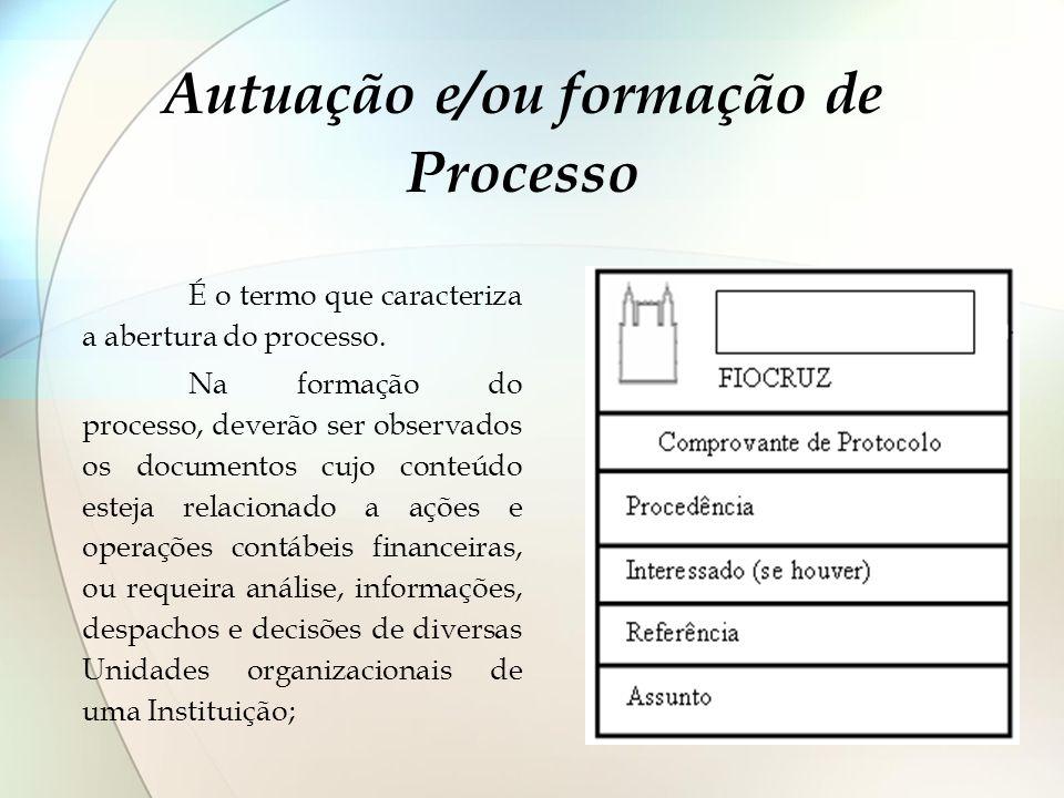 Autuação e/ou formação de Processo É o termo que caracteriza a abertura do processo. Na formação do processo, deverão ser observados os documentos cuj