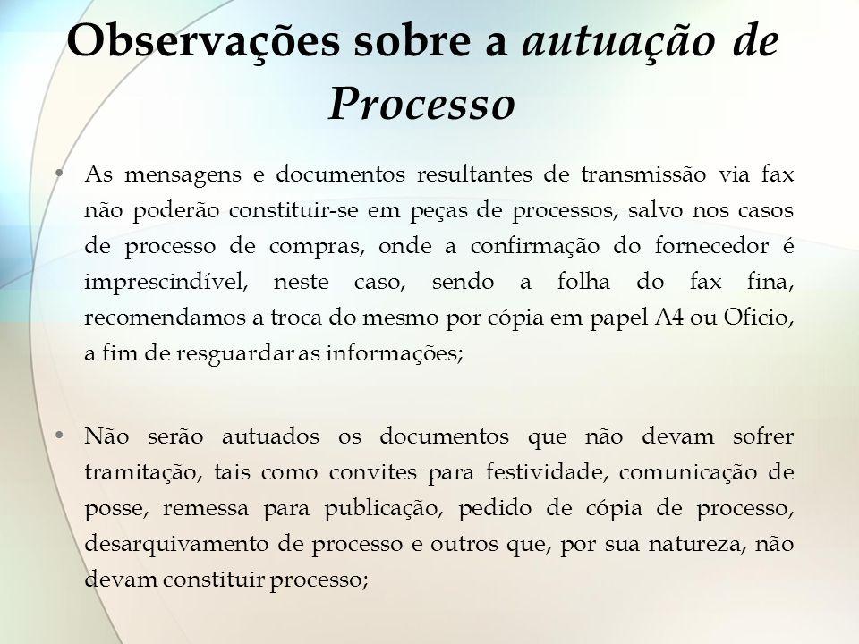 Observações sobre a autuação de Processo As mensagens e documentos resultantes de transmissão via fax não poderão constituir-se em peças de processos,
