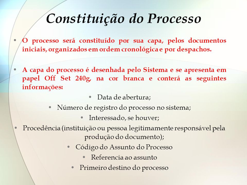 Constituição do Processo O processo será constituído por sua capa, pelos documentos iniciais, organizados em ordem cronológica e por despachos. A capa