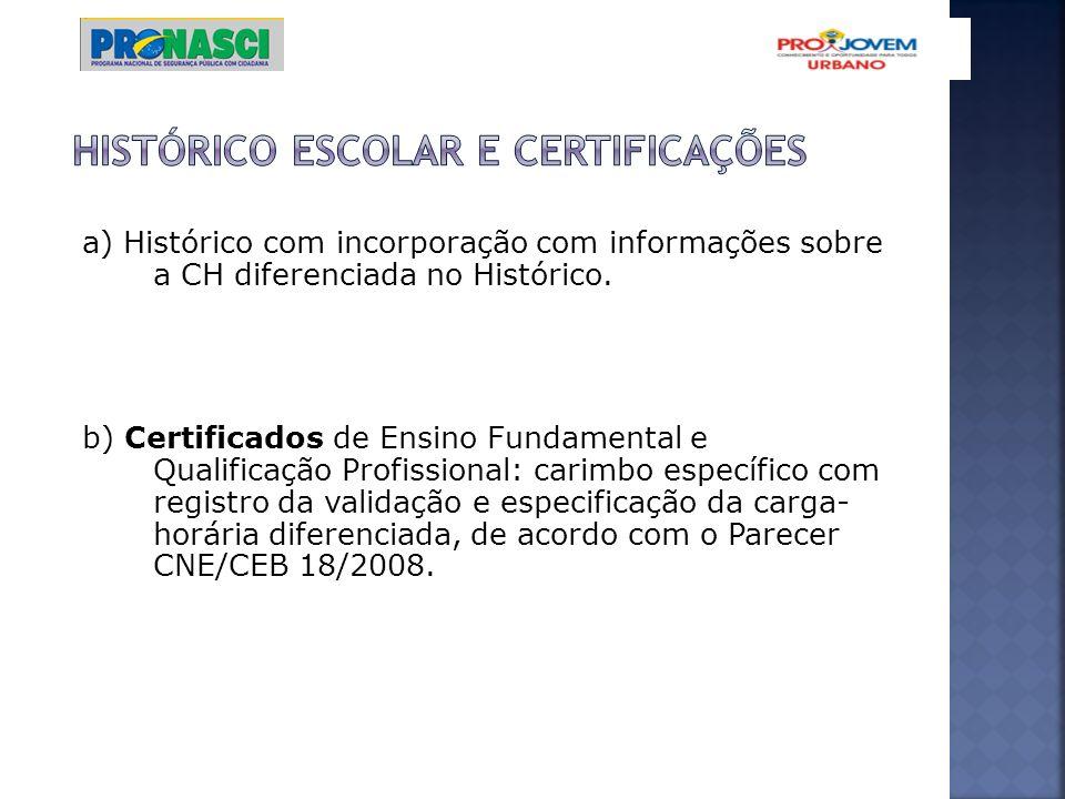 a) Histórico com incorporação com informações sobre a CH diferenciada no Histórico. b) Certificados de Ensino Fundamental e Qualificação Profissional: