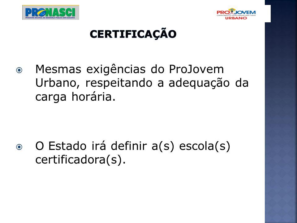 Mesmas exigências do ProJovem Urbano, respeitando a adequação da carga horária. O Estado irá definir a(s) escola(s) certificadora(s).