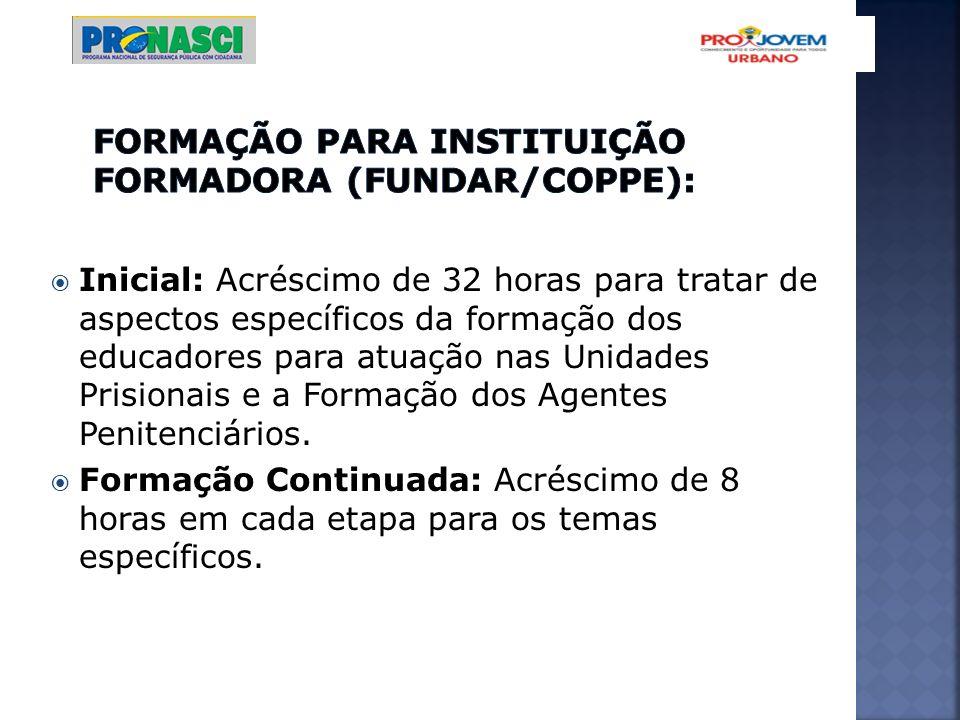 Inicial: Acréscimo de 32 horas para tratar de aspectos específicos da formação dos educadores para atuação nas Unidades Prisionais e a Formação dos Ag