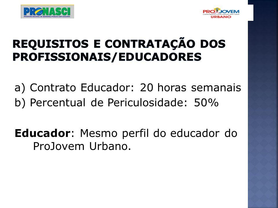 a) Contrato Educador: 20 horas semanais b) Percentual de Periculosidade: 50% Educador: Mesmo perfil do educador do ProJovem Urbano.