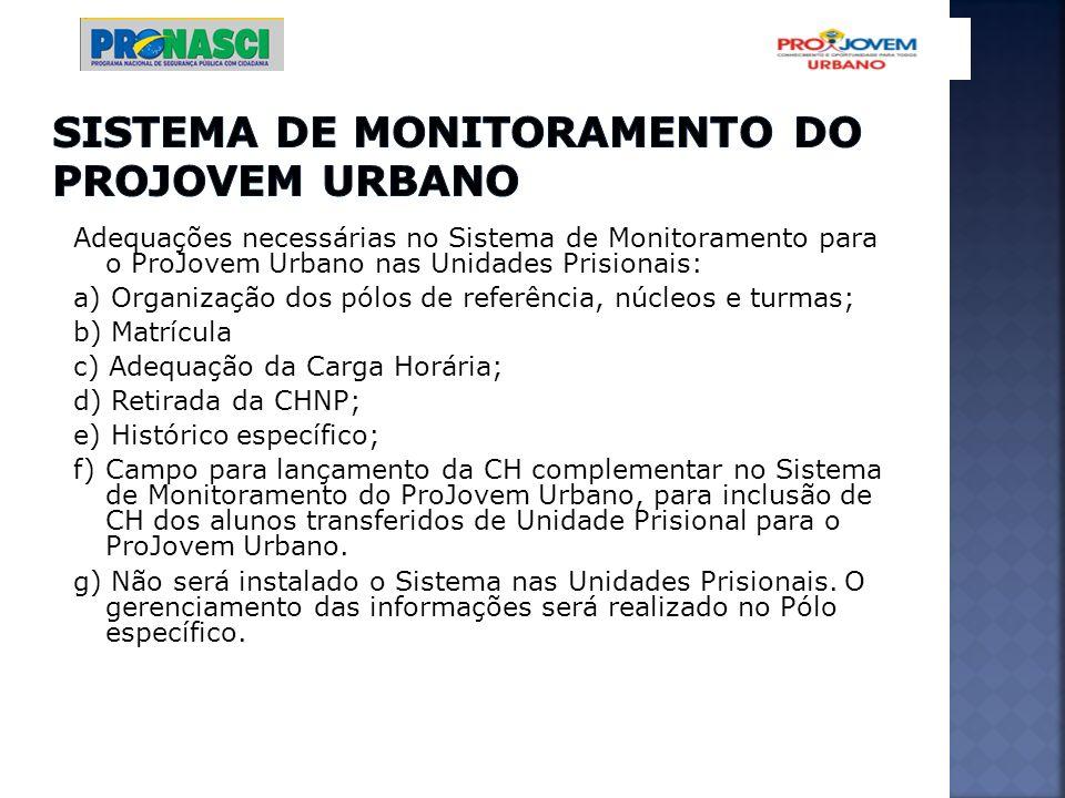 Adequações necessárias no Sistema de Monitoramento para o ProJovem Urbano nas Unidades Prisionais: a) Organização dos pólos de referência, núcleos e t