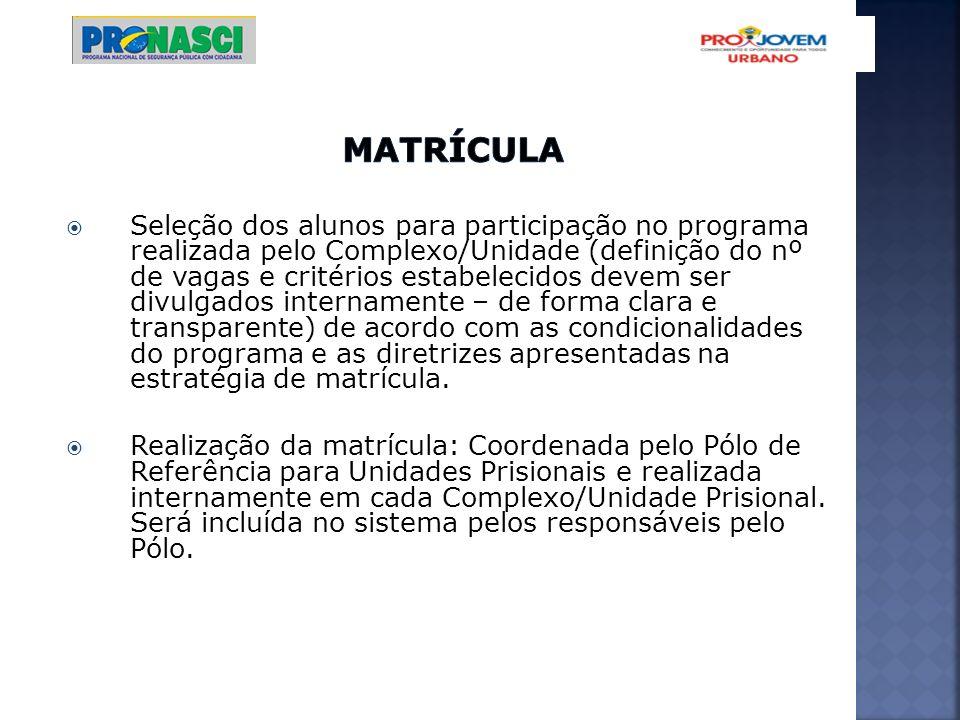 Seleção dos alunos para participação no programa realizada pelo Complexo/Unidade (definição do nº de vagas e critérios estabelecidos devem ser divulga