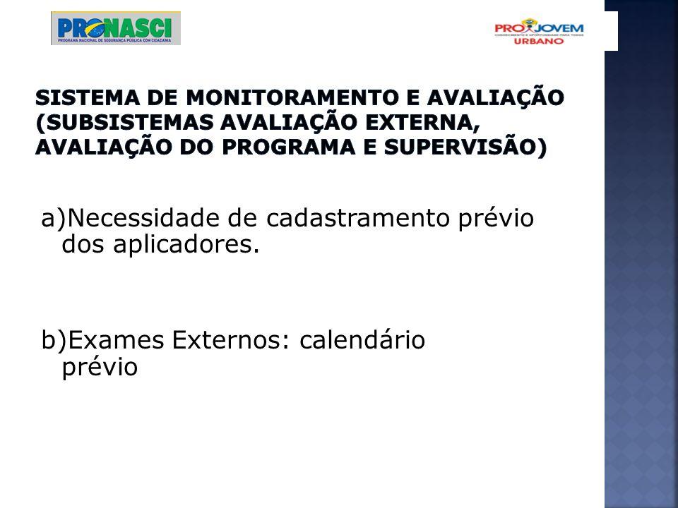 a)Necessidade de cadastramento prévio dos aplicadores. b)Exames Externos: calendário prévio
