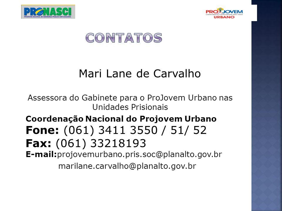 Mari Lane de Carvalho Assessora do Gabinete para o ProJovem Urbano nas Unidades Prisionais Coordenação Nacional do Projovem Urbano Fone: (061) 3411 35