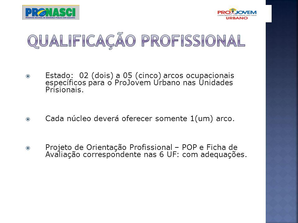 Estado: 02 (dois) a 05 (cinco) arcos ocupacionais específicos para o ProJovem Urbano nas Unidades Prisionais. Cada núcleo deverá oferecer somente 1(um