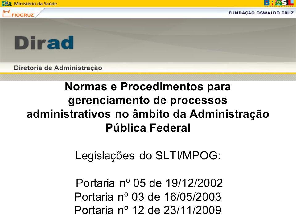 Normas e Procedimentos para gerenciamento de processos administrativos no âmbito da Administração Pública Federal Legislações do SLTI/MPOG: Portaria n