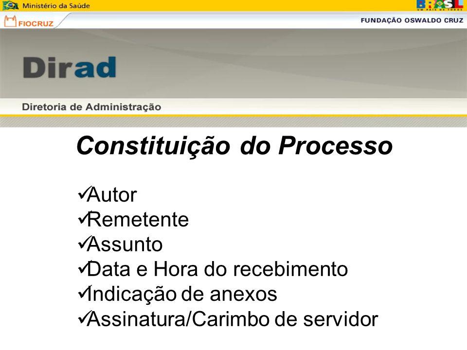 Constituição do Processo Autor Remetente Assunto Data e Hora do recebimento Indicação de anexos Assinatura/Carimbo de servidor