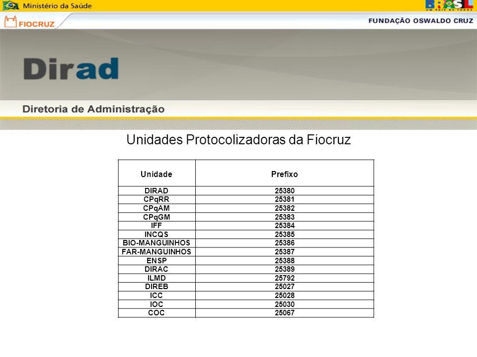 Unidades Protocolizadoras da Fiocruz Unidade Prefixo DIRAD25380 CPqRR25381 CPqAM25382 CPqGM25383 IFF25384 INCQS25385 BIO-MANGUINHOS25386 FAR-MANGUINHO