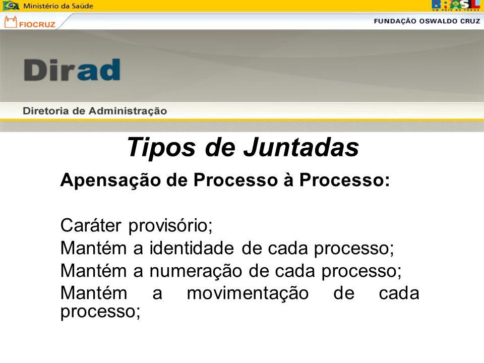 Tipos de Juntadas Apensação de Processo à Processo: Caráter provisório; Mantém a identidade de cada processo; Mantém a numeração de cada processo; Man