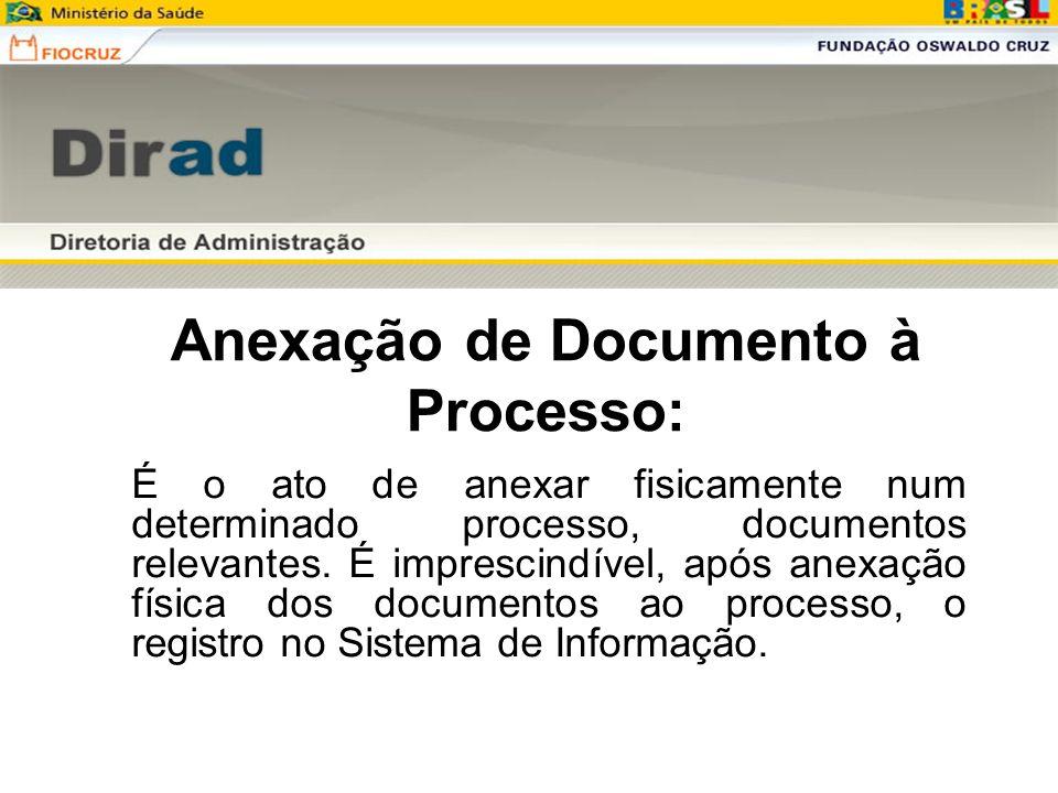 Anexação de Documento à Processo: É o ato de anexar fisicamente num determinado processo, documentos relevantes. É imprescindível, após anexação físic