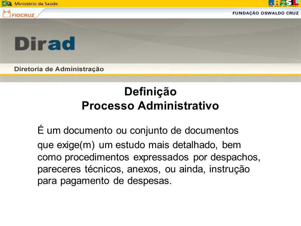 Definição Processo Administrativo É um documento ou conjunto de documentos que exige(m) um estudo mais detalhado, bem como procedimentos expressados p