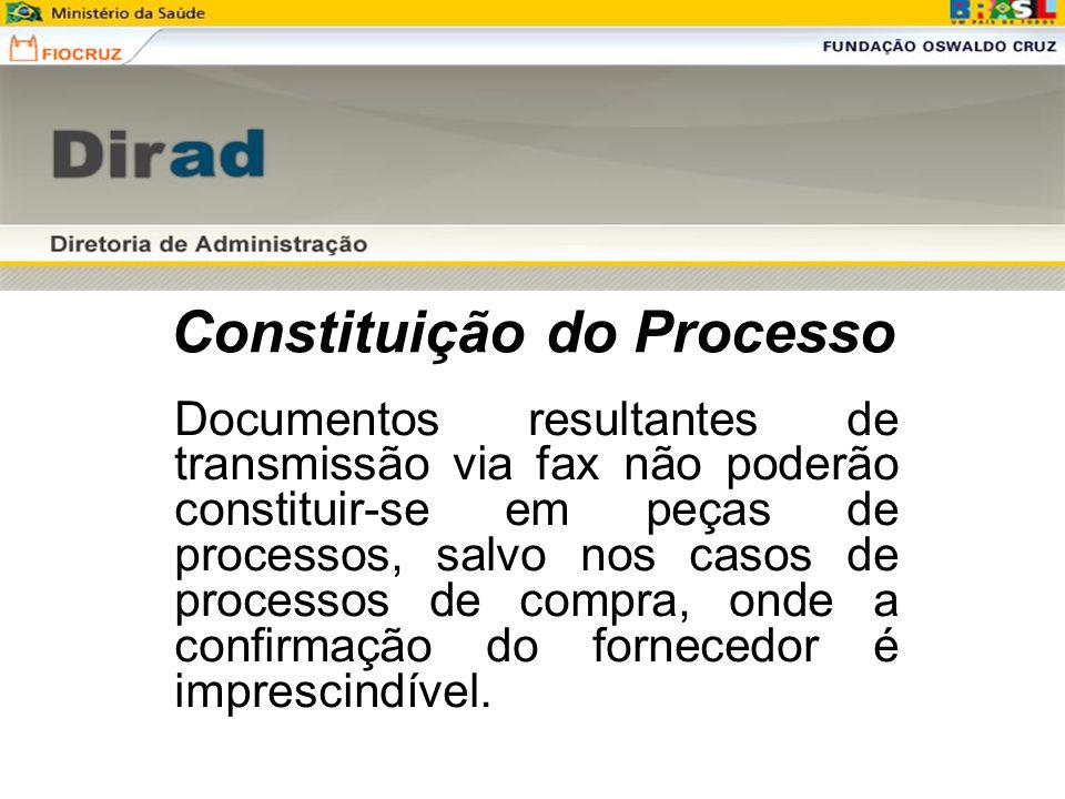 Constituição do Processo Documentos resultantes de transmissão via fax não poderão constituir-se em peças de processos, salvo nos casos de processos d
