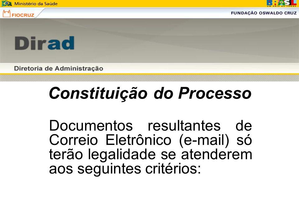 Constituição do Processo Documentos resultantes de Correio Eletrônico (e-mail) só terão legalidade se atenderem aos seguintes critérios: