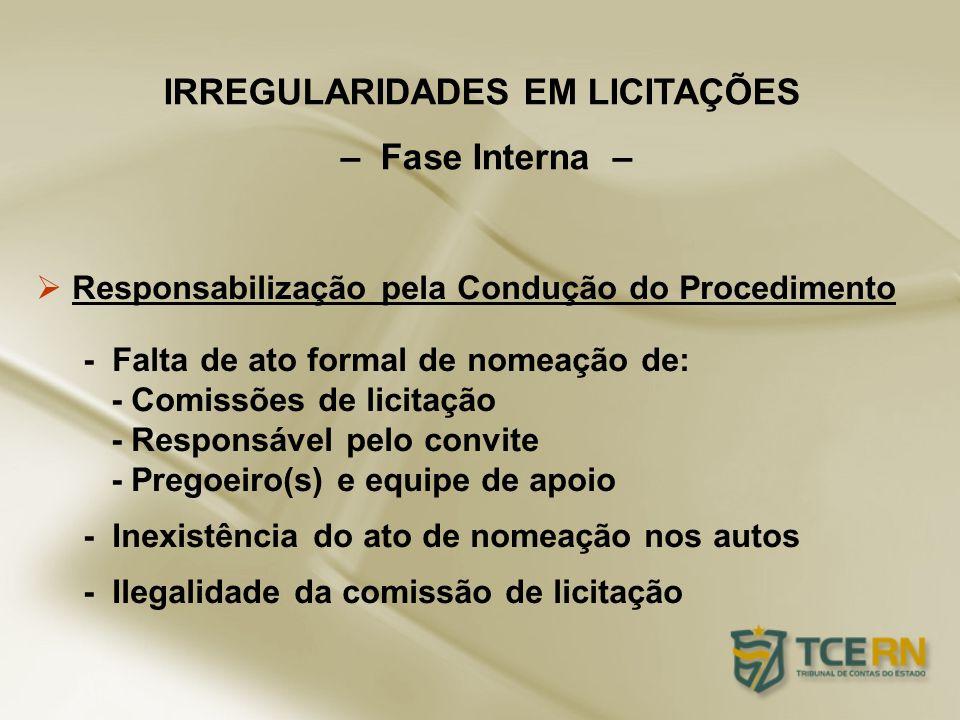 Responsabilização pela Condução do Procedimento - Falta de ato formal de nomeação de: - Comissões de licitação - Responsável pelo convite - Pregoeiro(