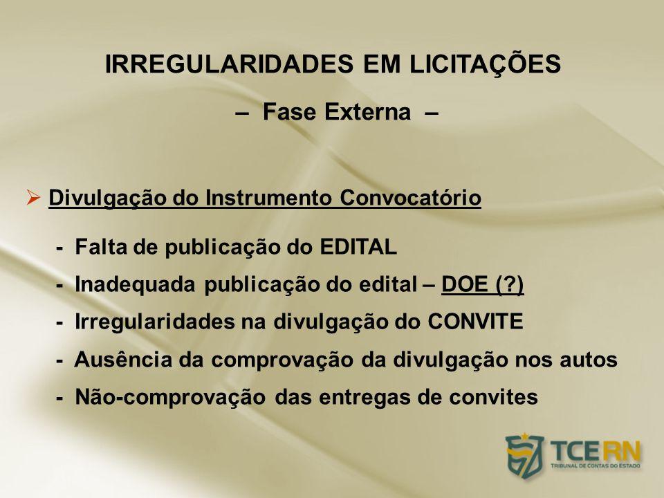 Divulgação do Instrumento Convocatório - Falta de publicação do EDITAL - Inadequada publicação do edital – DOE (?) - Irregularidades na divulgação do