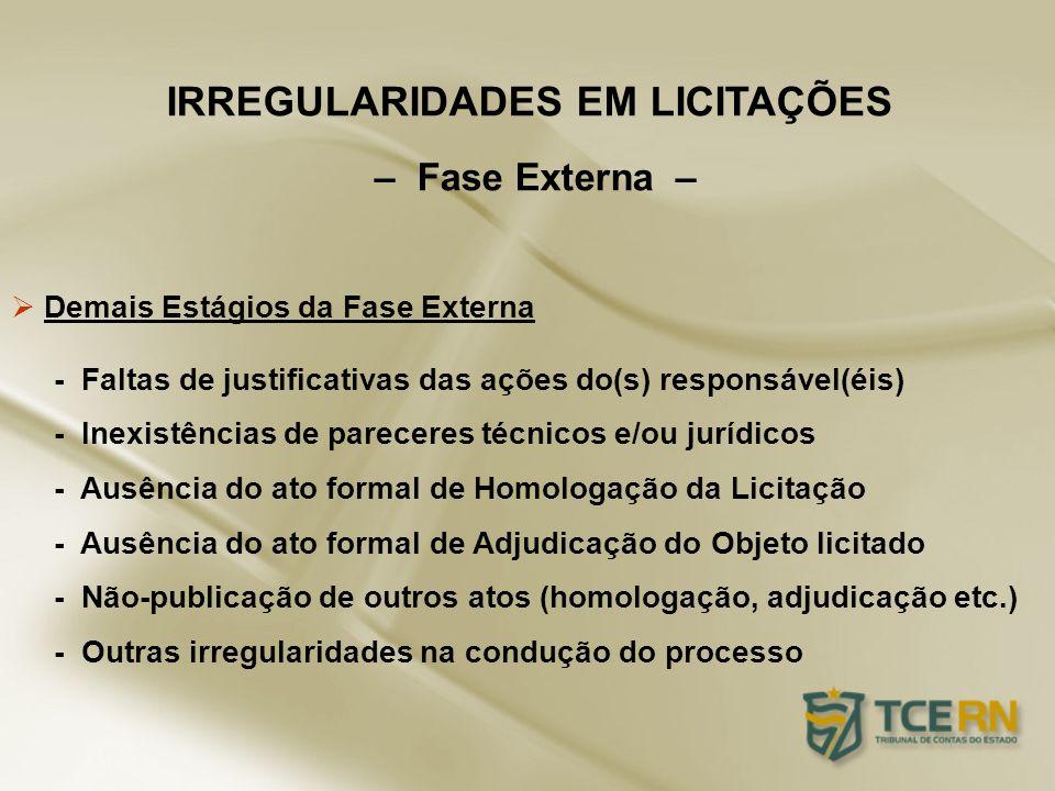 Demais Estágios da Fase Externa - Faltas de justificativas das ações do(s) responsável(éis) - Inexistências de pareceres técnicos e/ou jurídicos - Aus