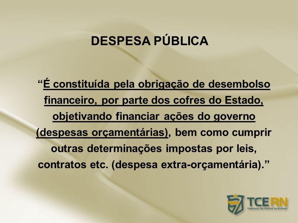 É constituída pela obrigação de desembolso financeiro, por parte dos cofres do Estado, objetivando financiar ações do governo (despesas orçamentárias)