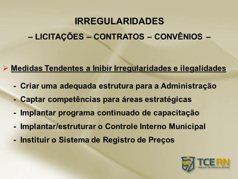 Medidas Tendentes a Inibir Irregularidades e ilegalidades - Criar uma adequada estrutura para a Administração - Captar competências para áreas estraté