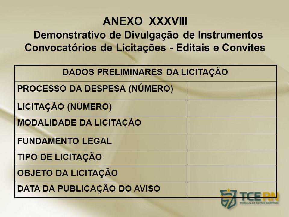 ANEXO XXXVIII Demonstrativo de Divulgação de Instrumentos Convocatórios de Licitações - Editais e Convites DADOS PRELIMINARES DA LICITAÇÃO PROCESSO DA