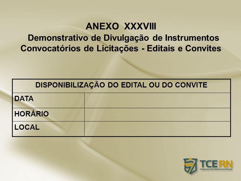 ANEXO XXXVIII Demonstrativo de Divulgação de Instrumentos Convocatórios de Licitações - Editais e Convites DISPONIBILIZAÇÃO DO EDITAL OU DO CONVITE DA