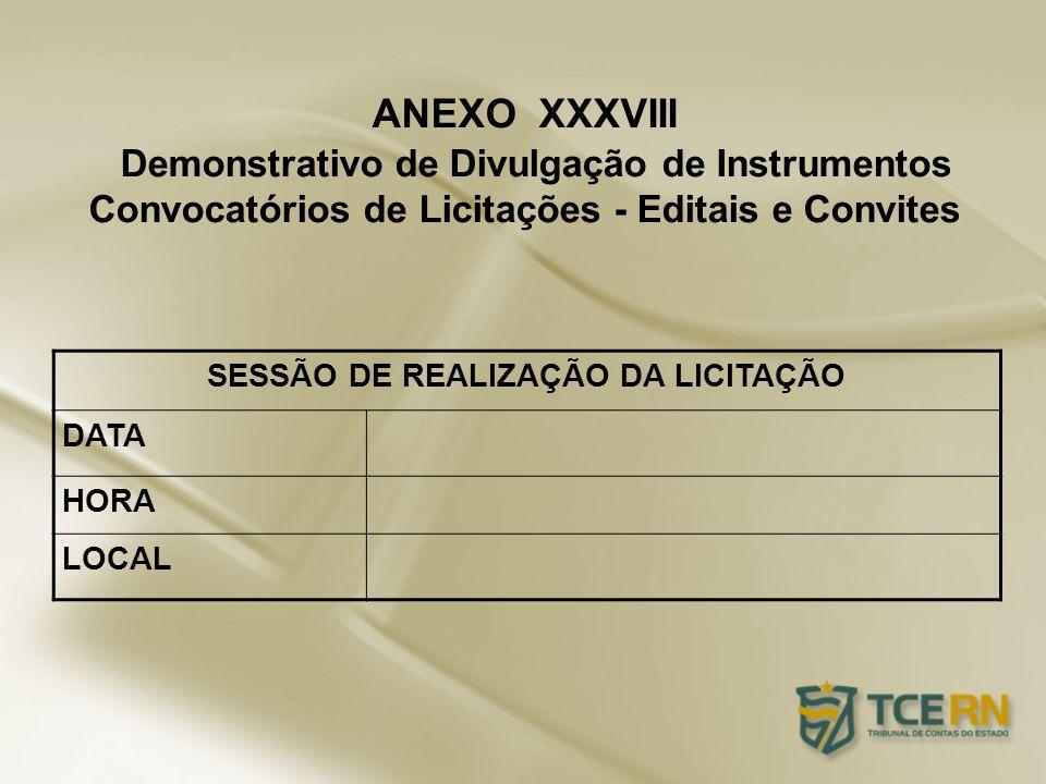 ANEXO XXXVIII Demonstrativo de Divulgação de Instrumentos Convocatórios de Licitações - Editais e Convites SESSÃO DE REALIZAÇÃO DA LICITAÇÃO DATA HORA