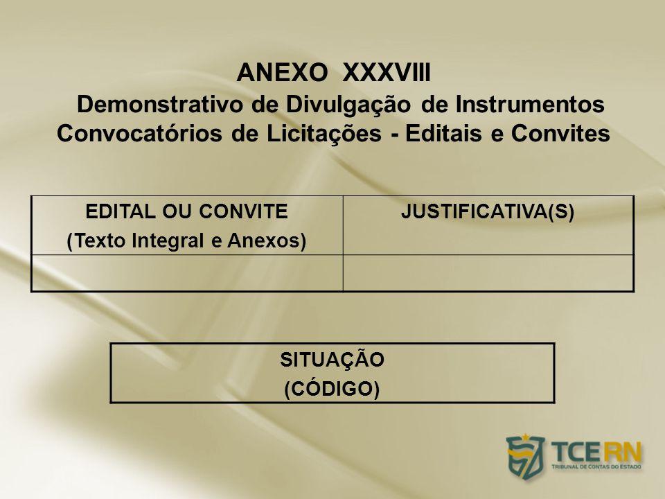 EDITAL OU CONVITE (Texto Integral e Anexos) JUSTIFICATIVA(S) ANEXO XXXVIII Demonstrativo de Divulgação de Instrumentos Convocatórios de Licitações - E