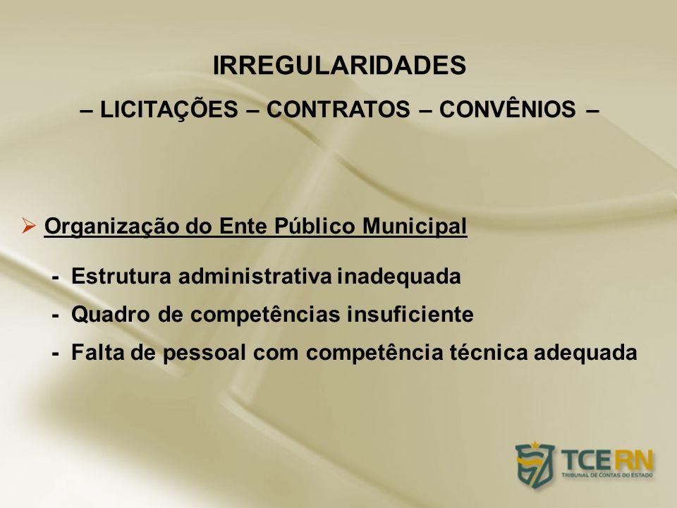 Organização do Ente Público Municipal - Estrutura administrativa inadequada - Quadro de competências insuficiente - Falta de pessoal com competência t