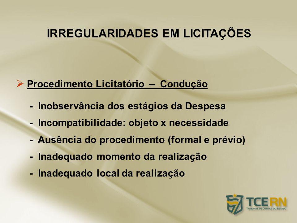 Procedimento Licitatório – Condução - Inobservância dos estágios da Despesa - Incompatibilidade: objeto x necessidade - Ausência do procedimento (form