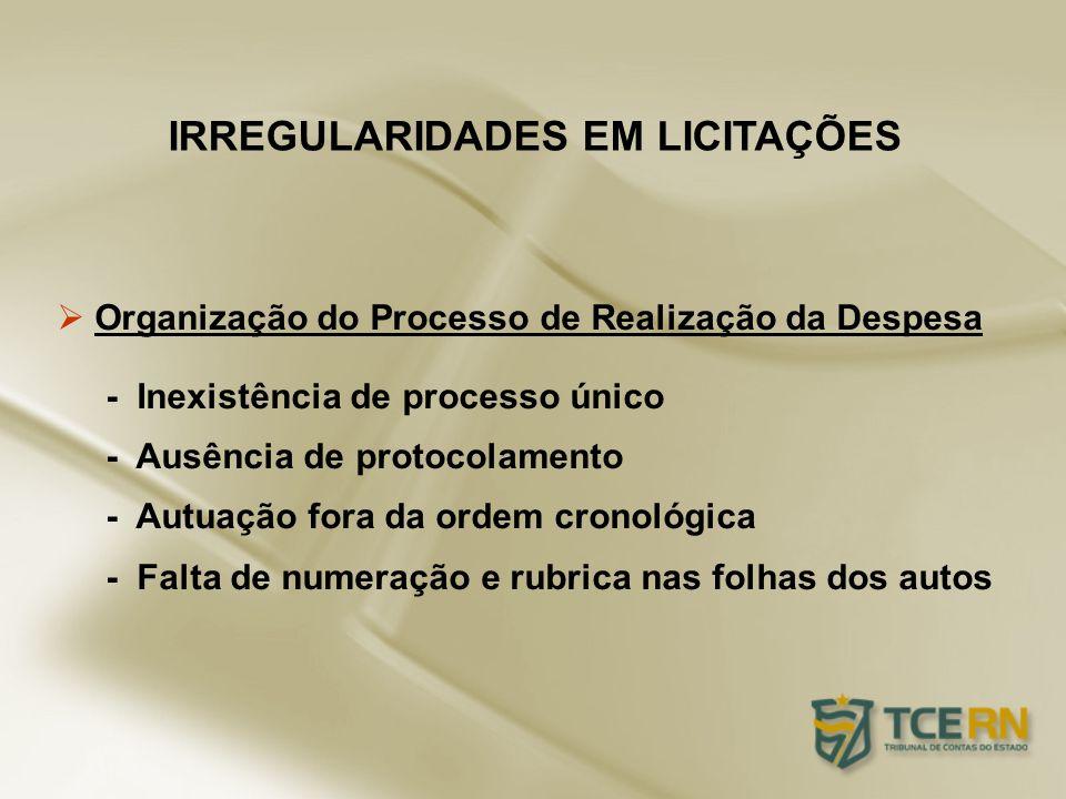 Organização do Processo de Realização da Despesa - Inexistência de processo único - Ausência de protocolamento - Autuação fora da ordem cronológica -