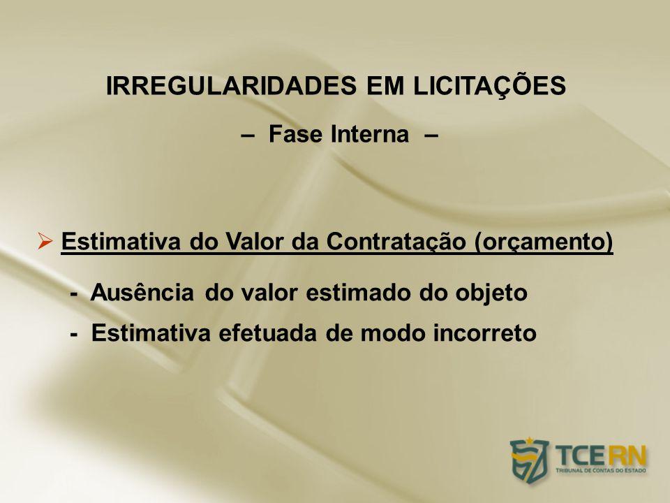 Estimativa do Valor da Contratação (orçamento) - Ausência do valor estimado do objeto - Estimativa efetuada de modo incorreto IRREGULARIDADES EM LICIT
