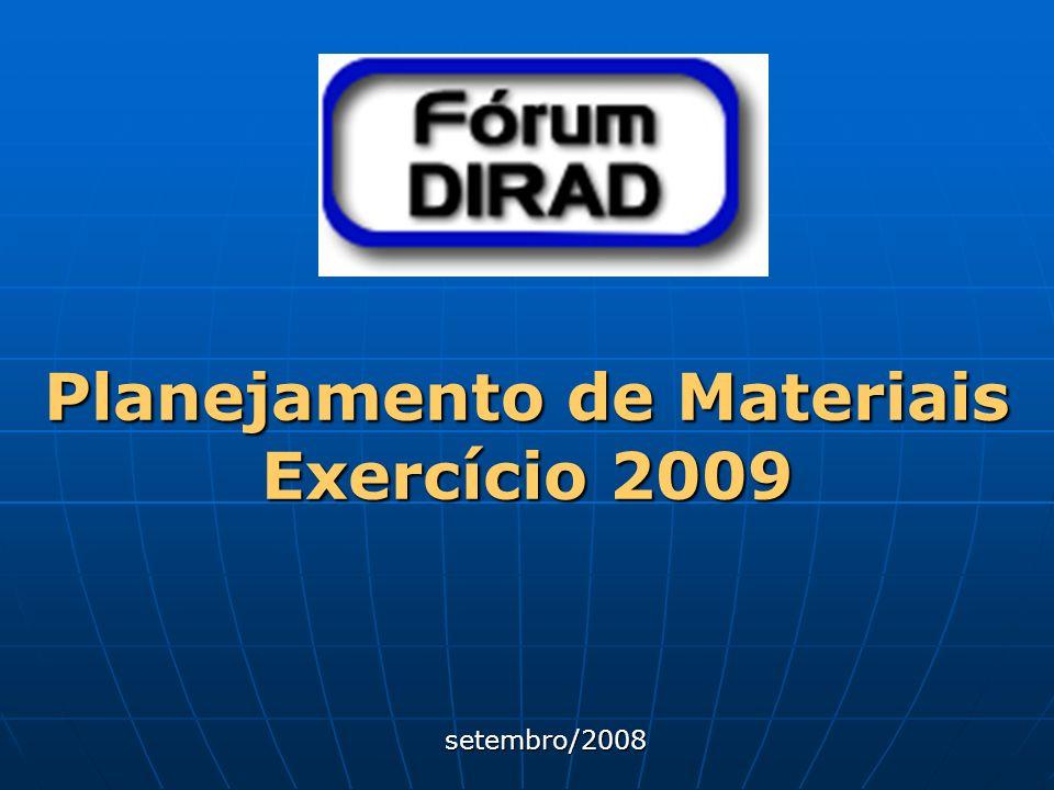 Planejamento de Materiais Exercício 2009 setembro/2008 setembro/2008