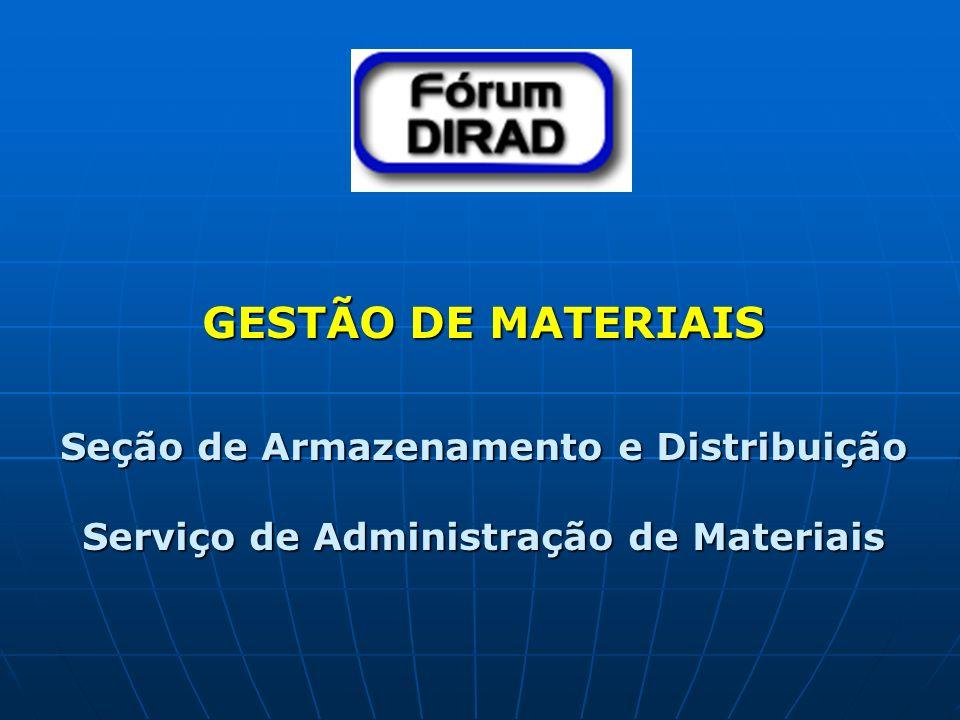 GESTÃO DE MATERIAIS Seção de Armazenamento e Distribuição Serviço de Administração de Materiais