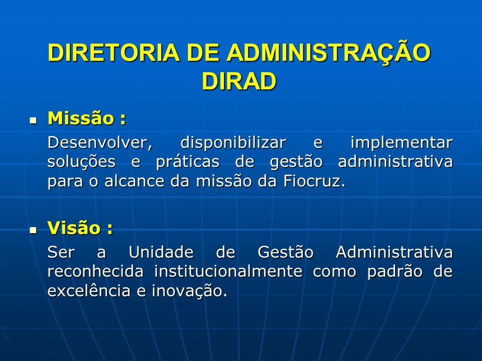DIRETORIA DE ADMINISTRAÇÃO DIRAD Missão : Missão : Desenvolver, disponibilizar e implementar soluções e práticas de gestão administrativa para o alcan