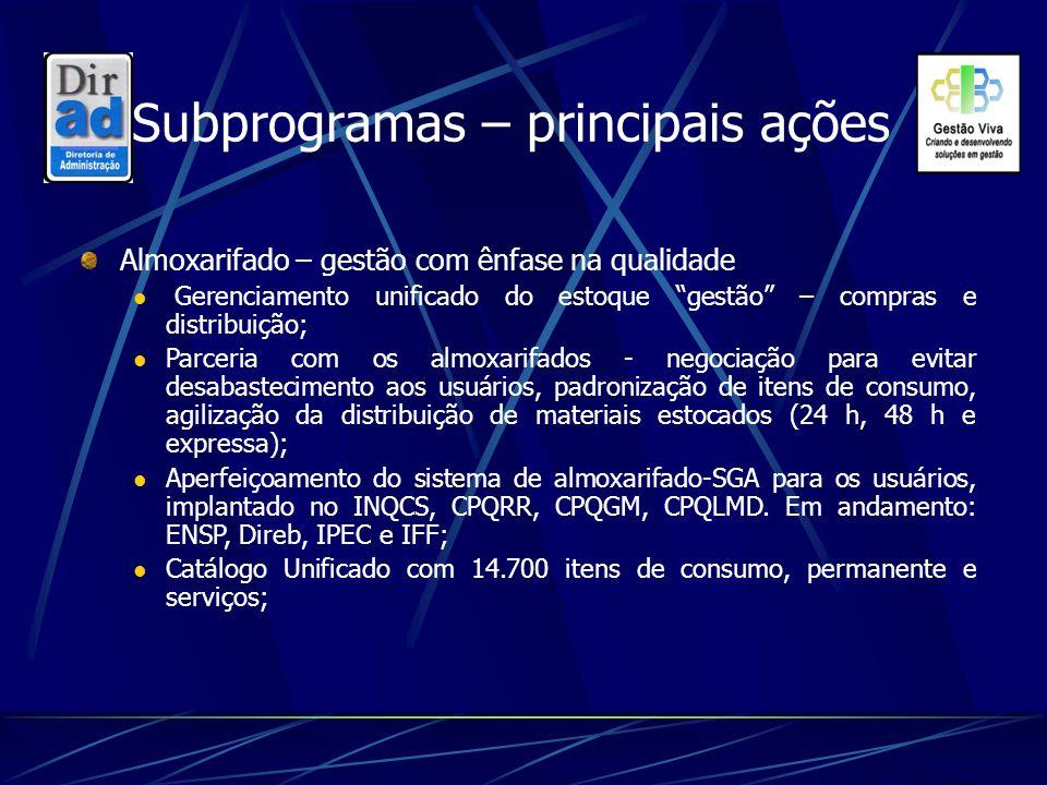 Subprogramas – principais ações Almoxarifado – gestão com ênfase na qualidade Gerenciamento unificado do estoque gestão – compras e distribuição; Parc