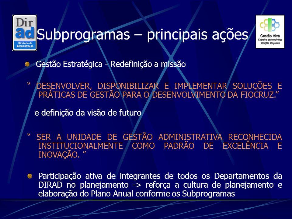 Subprogramas – principais ações Gestão Estratégica - Redefinição a missão DESENVOLVER, DISPONIBILIZAR E IMPLEMENTAR SOLUÇÕES E PRÁTICAS DE GESTÃO PARA