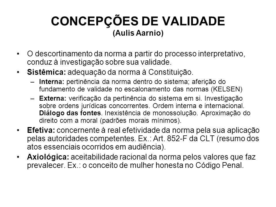 CONCEPÇÕES DE VALIDADE (Aulis Aarnio) O descortinamento da norma a partir do processo interpretativo, conduz à investigação sobre sua validade. Sistêm
