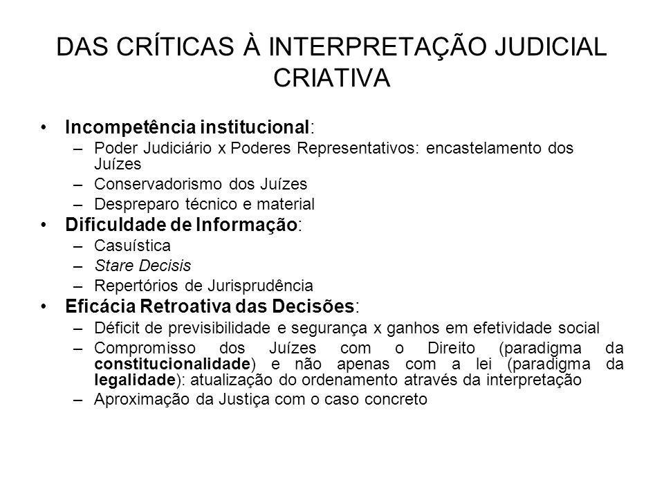 DAS CRÍTICAS À INTERPRETAÇÃO JUDICIAL CRIATIVA Incompetência institucional: –Poder Judiciário x Poderes Representativos: encastelamento dos Juízes –Co