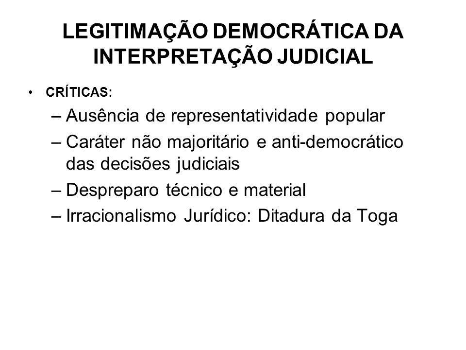 LEGITIMAÇÃO DEMOCRÁTICA DA INTERPRETAÇÃO JUDICIAL CRÍTICAS: –Ausência de representatividade popular –Caráter não majoritário e anti-democrático das de