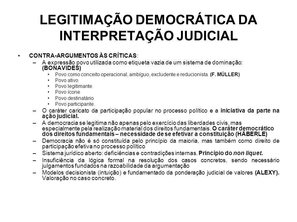 LEGITIMAÇÃO DEMOCRÁTICA DA INTERPRETAÇÃO JUDICIAL CONTRA-ARGUMENTOS ÀS CRÍTICAS: –A expressão povo utilizada como etiqueta vazia de um sistema de domi