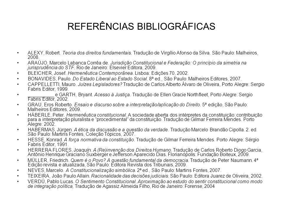 REFERÊNCIAS BIBLIOGRÁFICAS ALEXY, Robert. Teoria dos direitos fundamentais. Tradução de Virgílio Afonso da Silva. São Paulo: Malheiros, 2008. ARAÚJO,