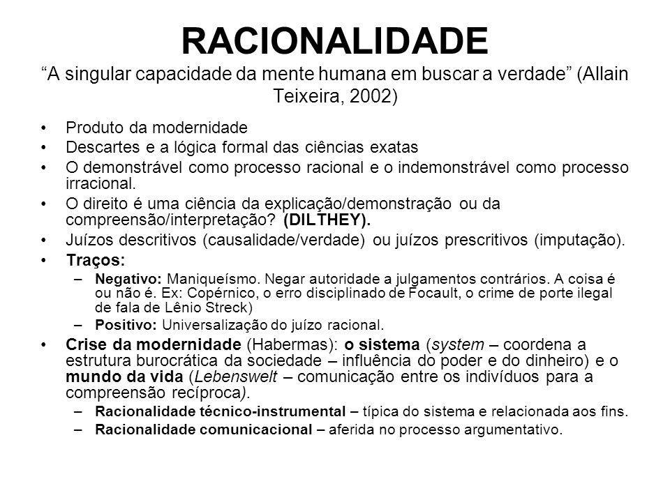 RACIONALIDADE A singular capacidade da mente humana em buscar a verdade (Allain Teixeira, 2002) Produto da modernidade Descartes e a lógica formal das