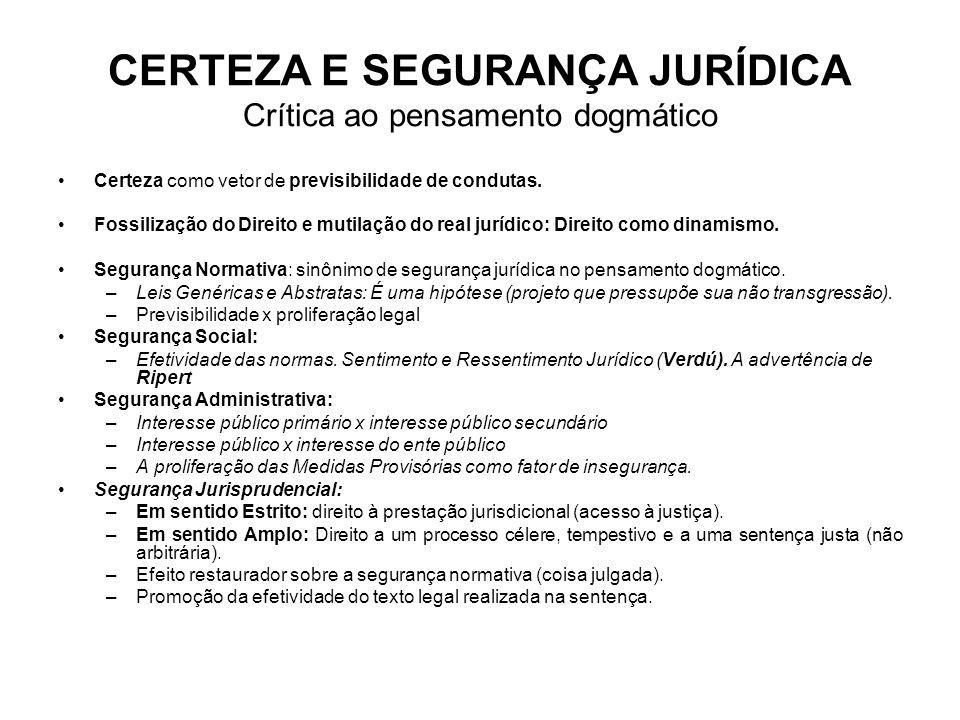 CERTEZA E SEGURANÇA JURÍDICA Crítica ao pensamento dogmático Certeza como vetor de previsibilidade de condutas. Fossilização do Direito e mutilação do