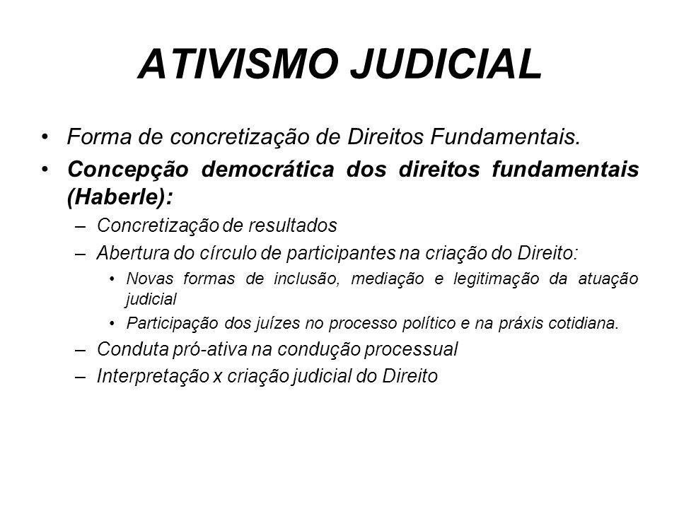 ATIVISMO JUDICIAL Forma de concretização de Direitos Fundamentais. Concepção democrática dos direitos fundamentais (Haberle): –Concretização de result