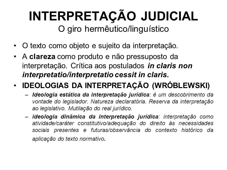 INTERPRETAÇÃO JUDICIAL O giro hermêutico/linguístico O texto como objeto e sujeito da interpretação. A clareza como produto e não pressuposto da inter
